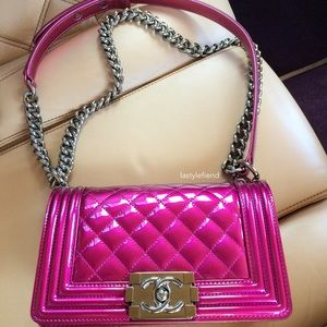 Chanel Pink Patent Small Boy Bag